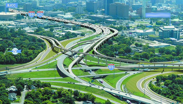 Projects: Aerial view of completed interstate highway interchange in Birmingham, AL