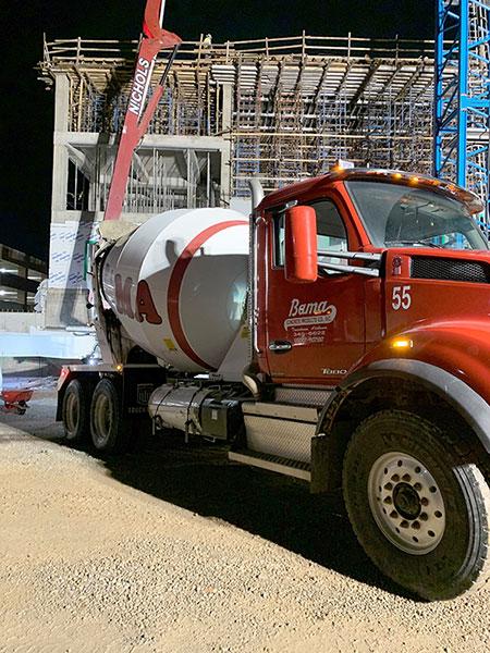 Concrete mixer at job site