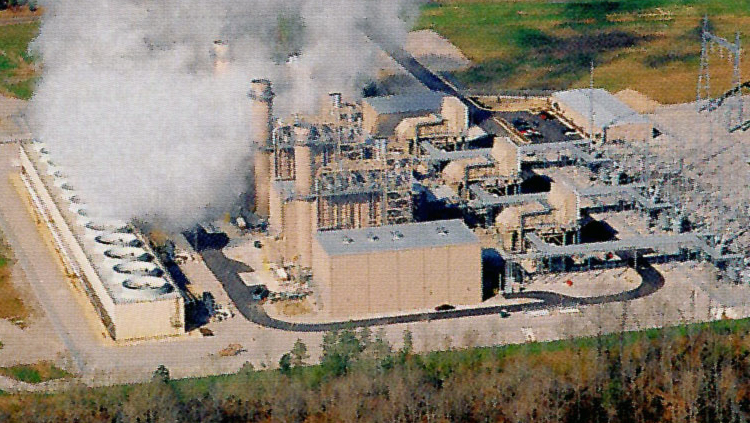 Projects: Aerial view of powerplant with steam rising