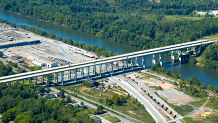 Projects: Aerial view of bridge over land and water