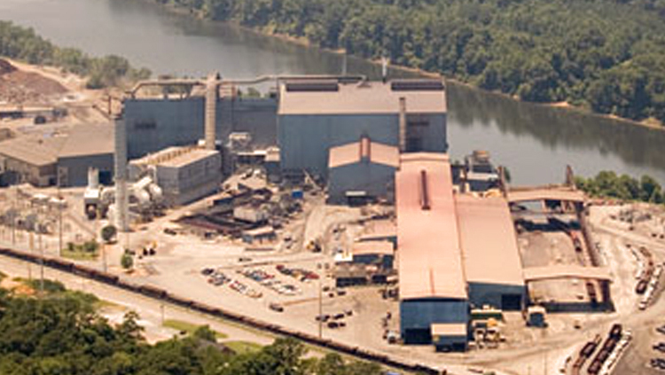 Projects: Aerial photo of steel plant on bank of river