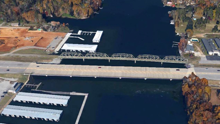 Projects: Aerial view of two bridges over water